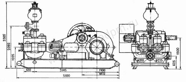 Чертеж насоса бурового УНБ-600
